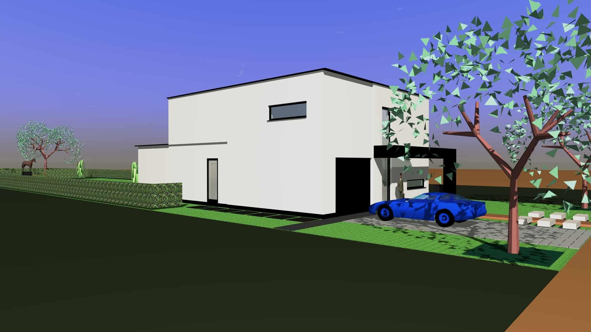 Detail afbeelding 4 van ST CR   –   Zeer strakke gepleisterde woning  –   Opglabbeek | Ontwerp door architect Patrick Strackx