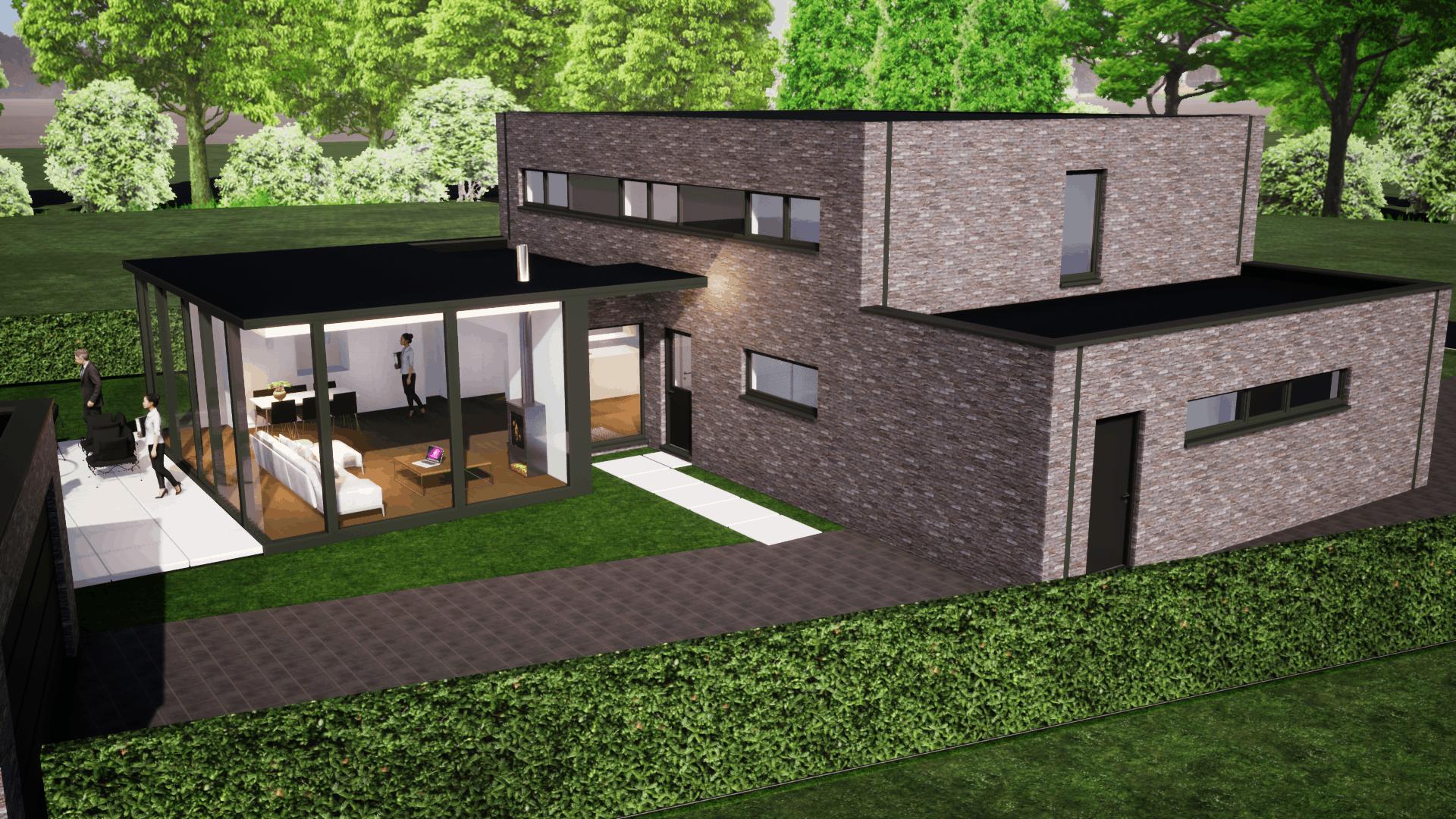 Detail afbeelding 1 van V – M     Uitbreiding met STRAKKE veranda | Ontwerp door architect Patrick Strackx