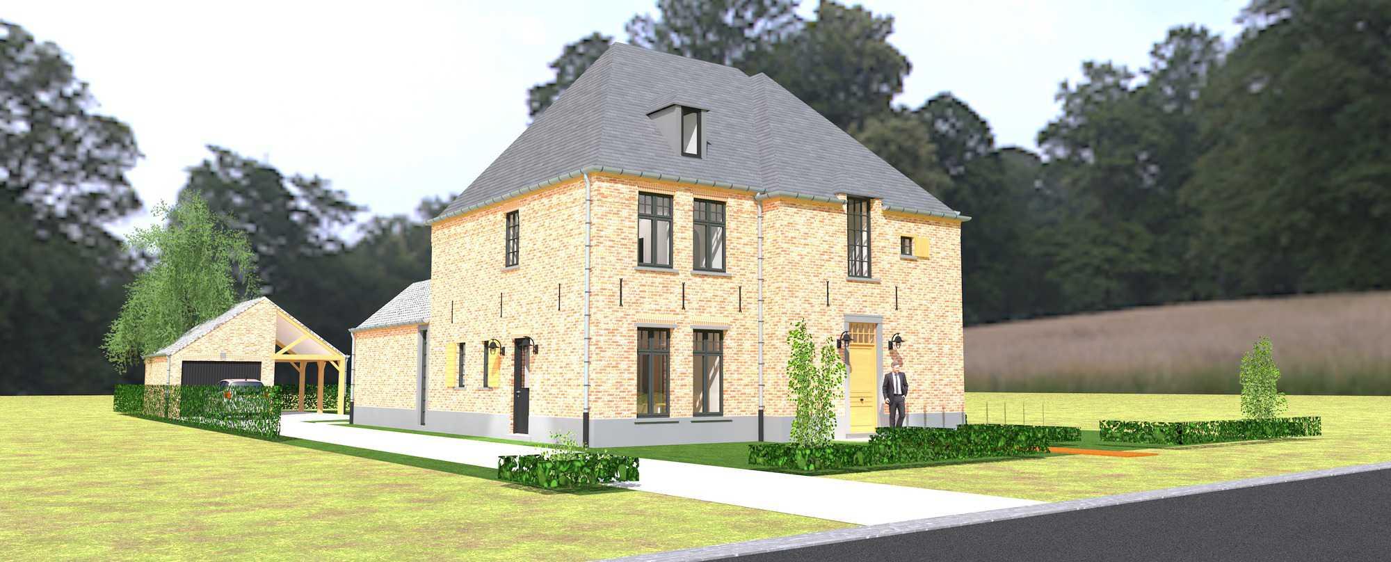 Detail afbeelding 1 van K & S   –   Landhuis met garage   –  Genk | Ontwerp door architect Patrick Strackx