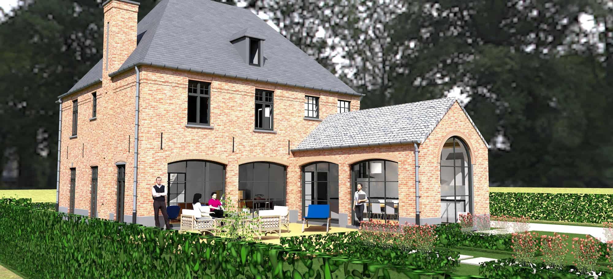 Detail afbeelding 6 van K & S   –   Landhuis met garage   –  Genk | Ontwerp door architect Patrick Strackx