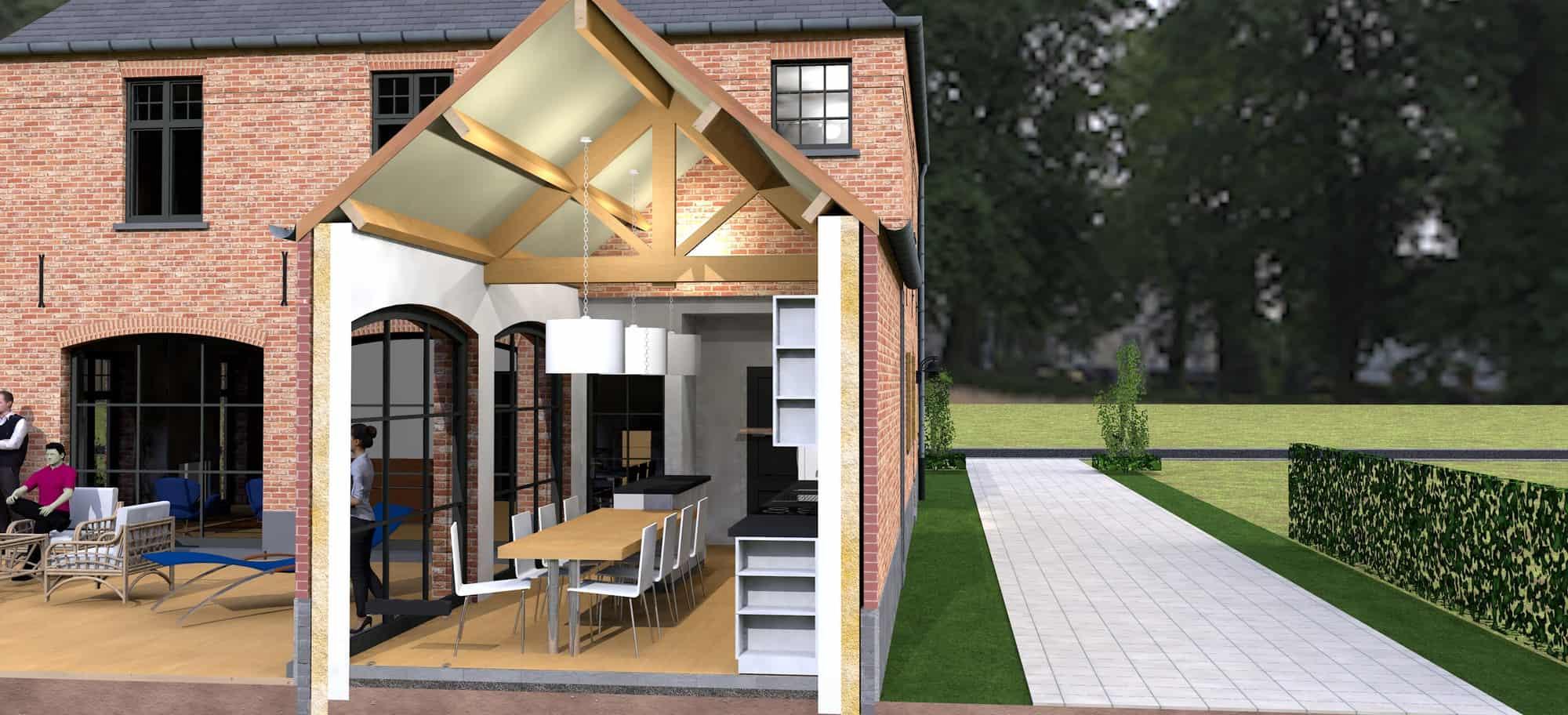 Detail afbeelding 5 van K & S   –   Landhuis met garage   –  Genk | Ontwerp door architect Patrick Strackx