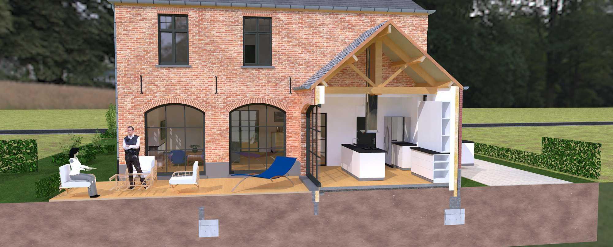 Detail afbeelding 3 van K & S   –   Landhuis met garage   –  Genk | Ontwerp door architect Patrick Strackx