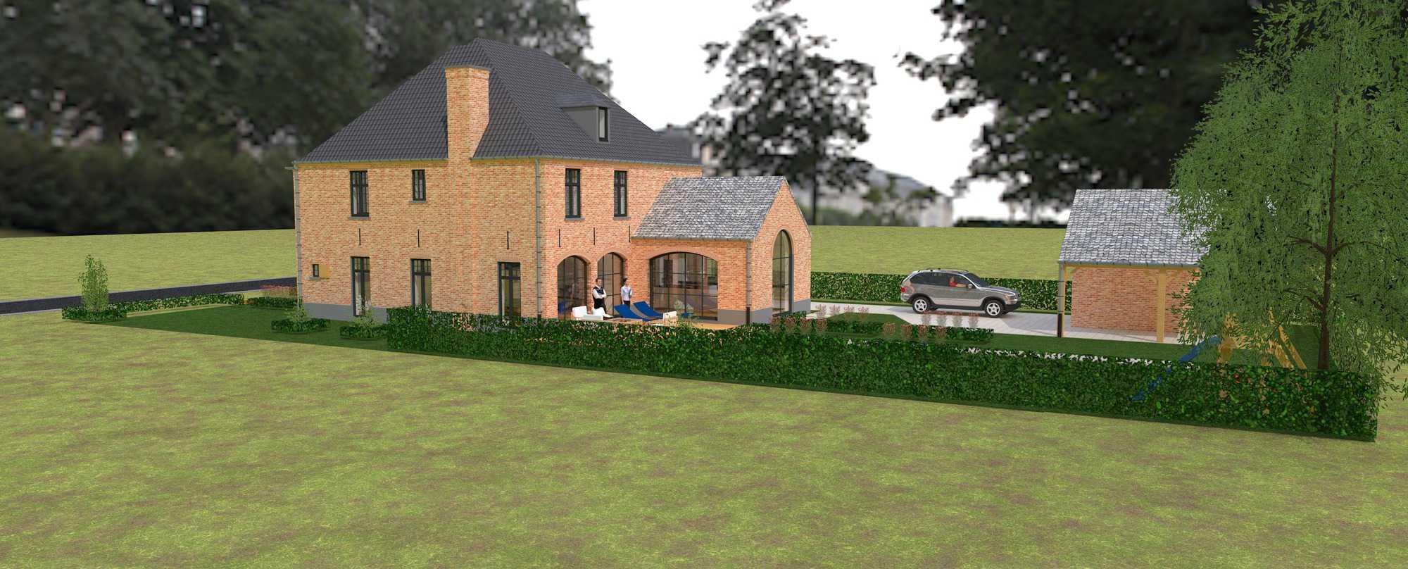 Detail afbeelding 2 van K & S   –   Landhuis met garage   –  Genk | Ontwerp door architect Patrick Strackx