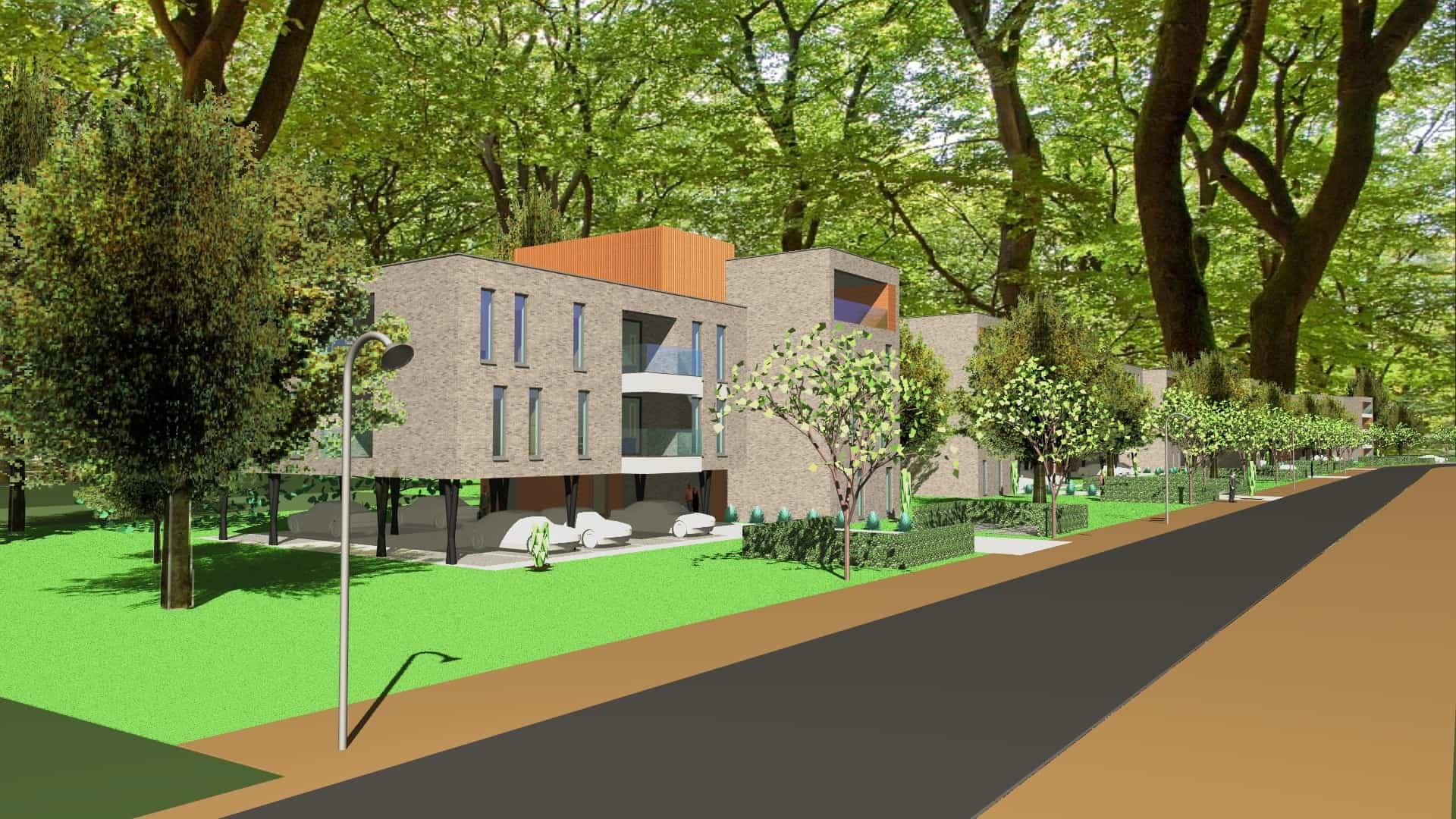 Detail afbeelding 2 van VO – BE   –   48 Appartementen tussen de bomen   –   Zonhoven | Ontwerp door architect Patrick Strackx