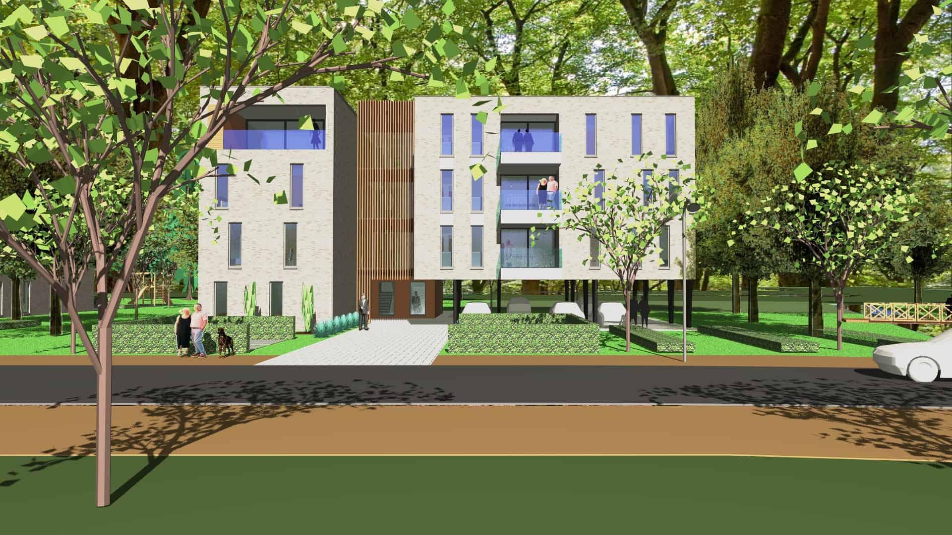 Detail afbeelding 6 van VO – BE   –   48 Appartementen tussen de bomen   –   Zonhoven | Ontwerp door architect Patrick Strackx