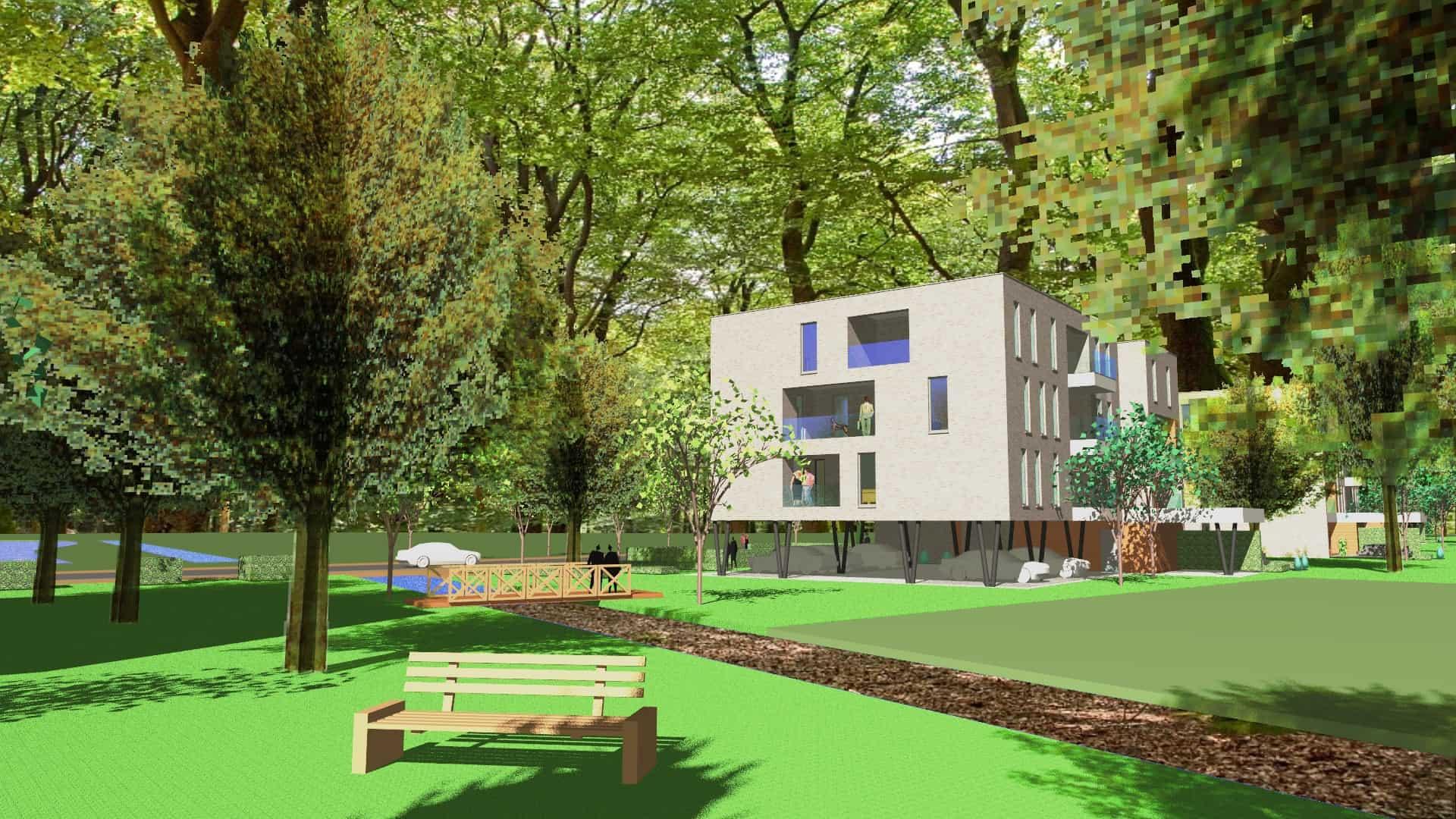 Detail afbeelding 4 van VO – BE   –   48 Appartementen tussen de bomen   –   Zonhoven | Ontwerp door architect Patrick Strackx