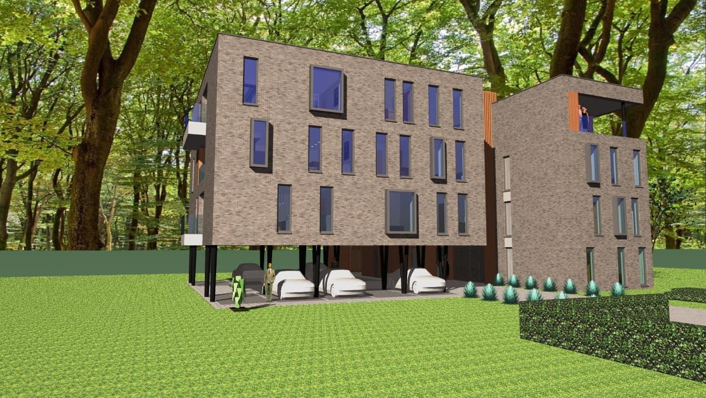 Detail afbeelding 3 van VO – BE   –   48 Appartementen tussen de bomen   –   Zonhoven | Ontwerp door architect Patrick Strackx
