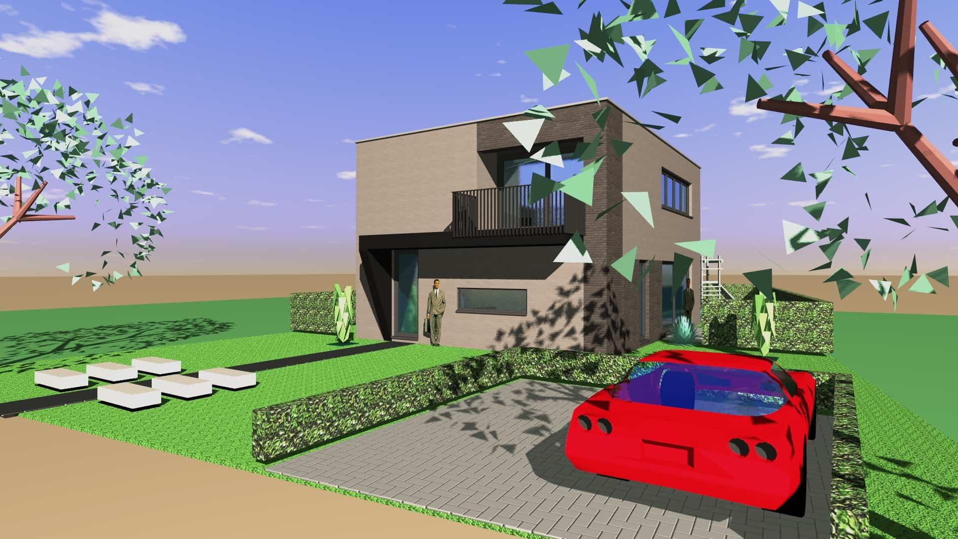 Detail afbeelding 1 van Tweewoonst    –   Zutendaal   –  NR | Ontwerp door architect Patrick Strackx
