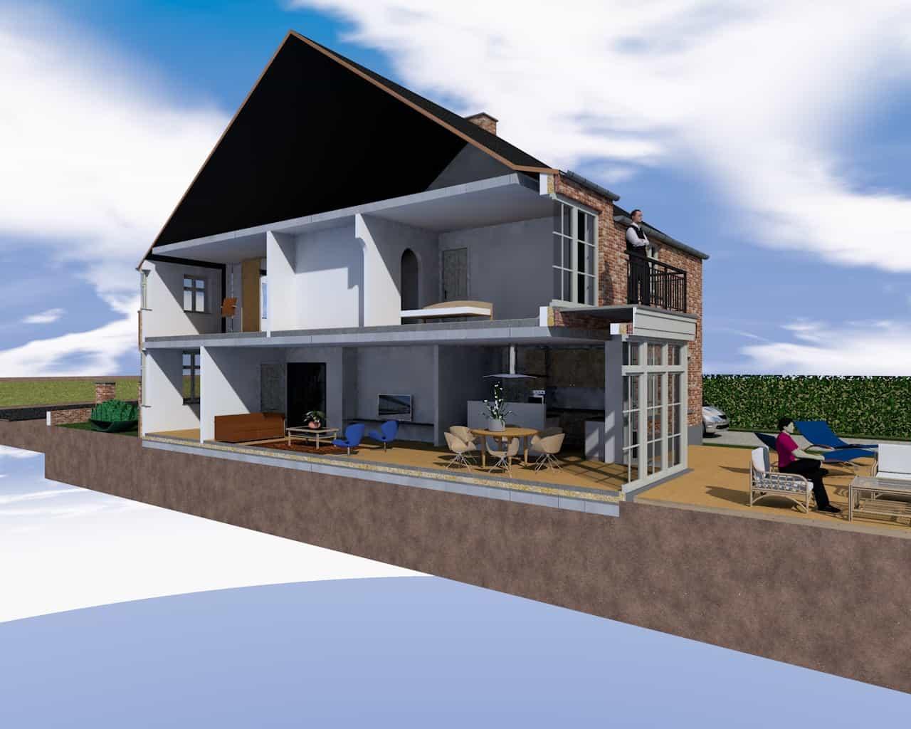 Detail afbeelding 5 van S & C   –   Gezinswoning met kapsalon   –   Genk | Ontwerp door architect Patrick Strackx