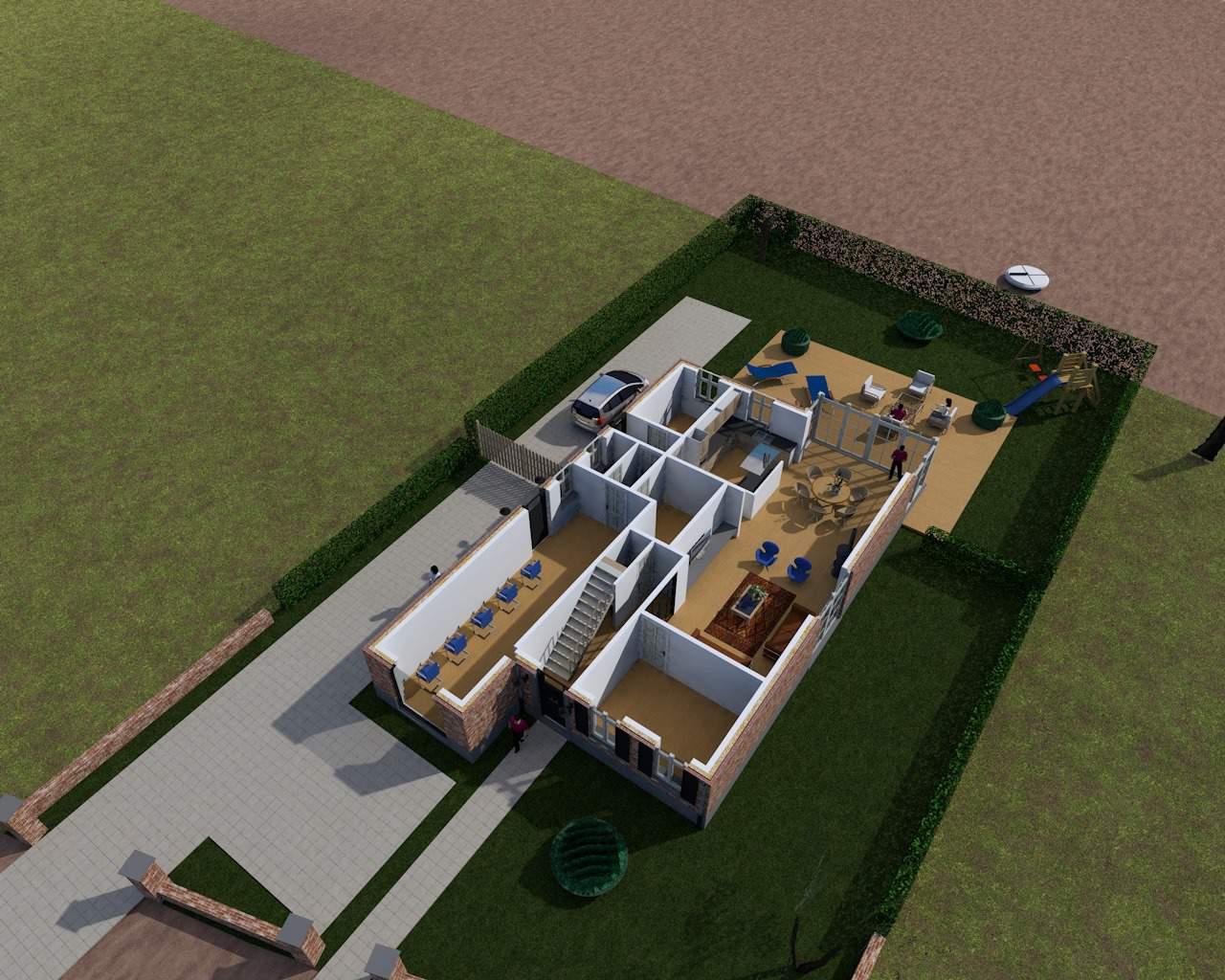 Detail afbeelding 4 van S & C   –   Gezinswoning met kapsalon   –   Genk | Ontwerp door architect Patrick Strackx