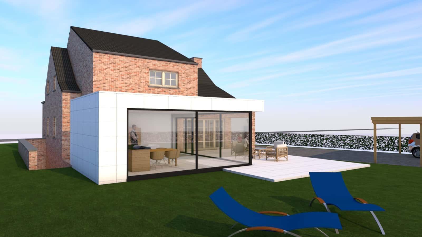 Detail afbeelding 1 van S & F   –   Uitbreiding woning   –   Opoeteren | Ontwerp door architect Patrick Strackx