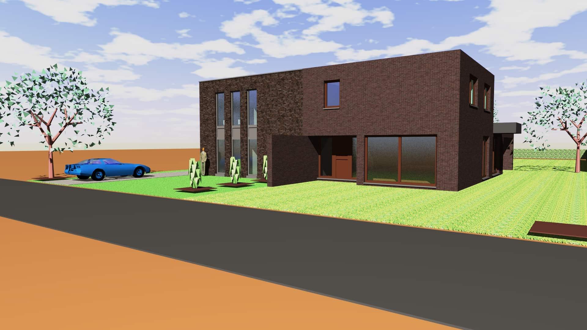 Detail afbeelding 1 van Twee-woonst   –   Half open  –  Genk  (NR) | Ontwerp door architect Patrick Strackx