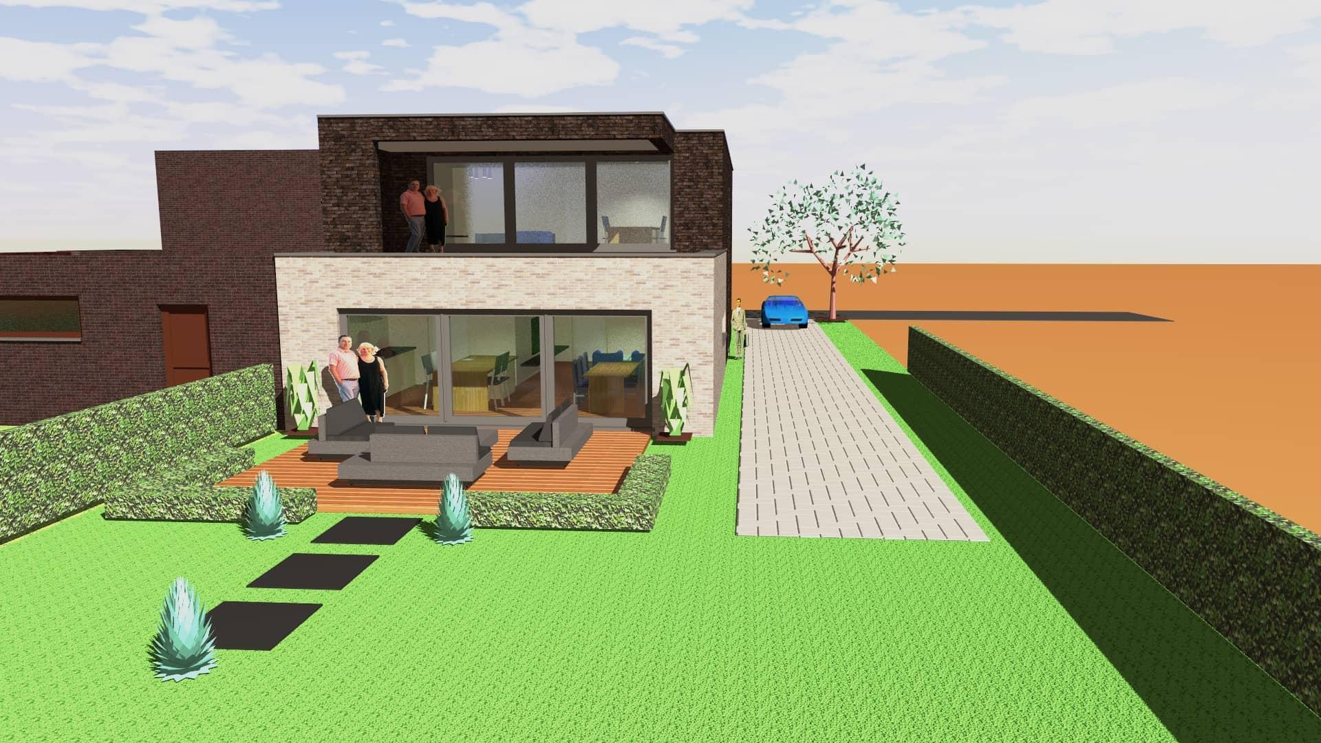 Detail afbeelding 4 van Twee-woonst   –   Half open  –  Genk  (NR) | Ontwerp door architect Patrick Strackx