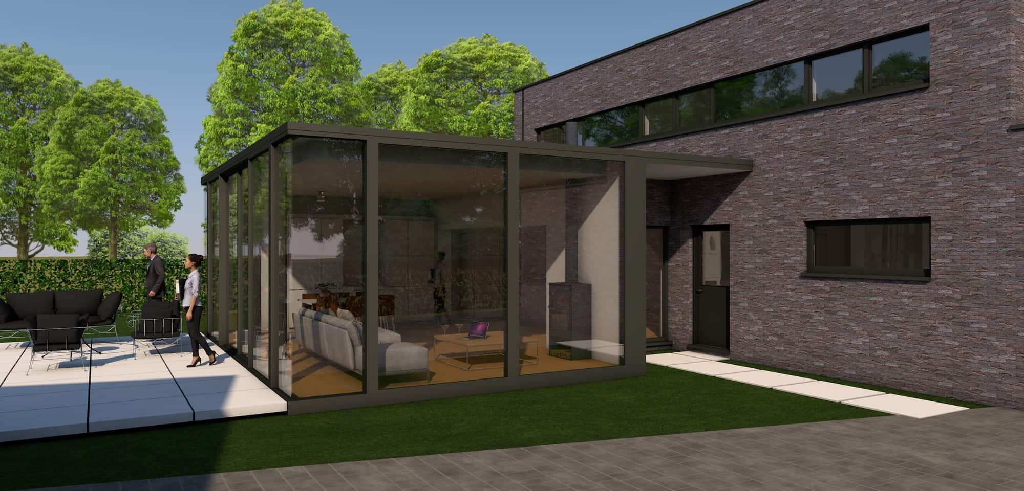 Detail afbeelding 2 van V – M     Uitbreiding met STRAKKE veranda | Ontwerp door architect Patrick Strackx
