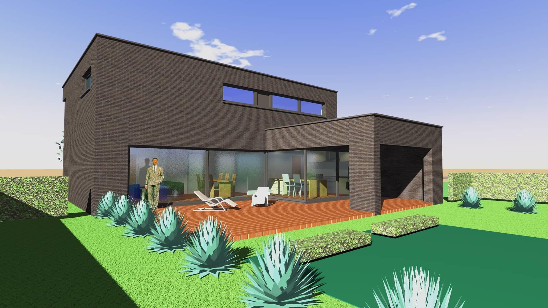 Detail afbeelding 3 van V & S   –   Strakke zwarte woning   –   Zutendaal | Ontwerp door architect Patrick Strackx